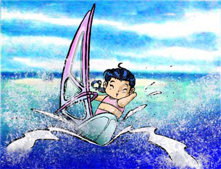 Chibi on a Wind Surf